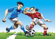 Cartoon Soccer Player Duel