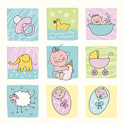 Illustrations of cartoon baby icons