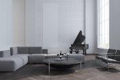 White living room, sofa and piano