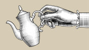 Woman's hand with a coffee pot