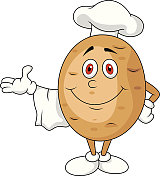 Cute potato chef cartoon character