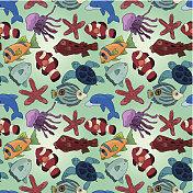 cartoon fish seamless pattern