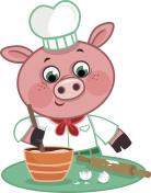 Cartoon Pig Chef Character