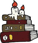 cartoon spooky old books