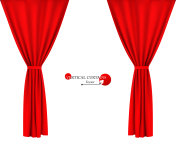Red fabric curtain vector illustration.