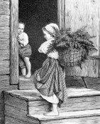 Finnish Fern Gathering Children on Steps
