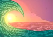 Big ocean wave at sunset.