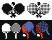 Rackets for table tennis.