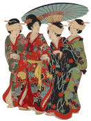 Japanese Woodblock Print Women with Umberella