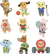 cartoon sport animal icons