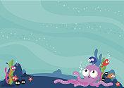 Underwater sea animals background