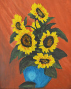 Sunflowers In Blue Pot
