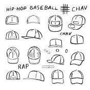 Baseball, tennis, rap cap outlined oil pastel template sketch
