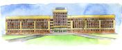 watercolor sketch of university