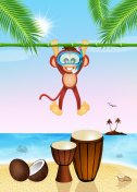 funny monkey and drums