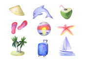Watercolor clipart vacation and travel hand-painted on white background