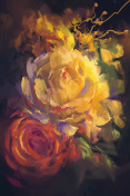 bouquet of colorful roses with oil painting style