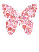 Butterfly Design in Pink Floral Pattern Isolated on White Background.