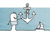 Cartoon sailor man with big anchor