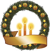 Christmas wreath, banner and candles