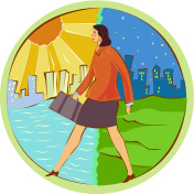 Businesswoman walking from day to night