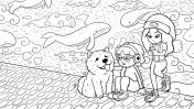 Two urban girls and a chow chow dog in front of a graffiti wall – black & white version
