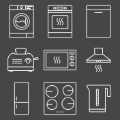 Kitchen appliance white icons