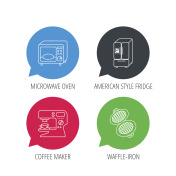 Microwave oven, waffle-iron and American style fridge icons.