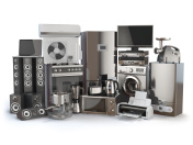 Home appliances. Gas cooker, tv cinema, refrigerator