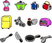 cartoon Kitchen appliances icon