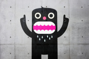 Gobby character stencil on concrete wall