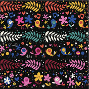 birds and flowers pattern
