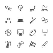 Simple set symbols sport and activity. Contains such icon hockey, golf, puck, stick, bodybuilding, barbell, baseball, boxing, skiing, snowboarding, kayaking, basketball