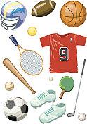 Baseball, ping-pong, tennis, basketball, golf