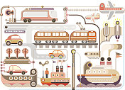 Travel, tourism, transport - vector illustration