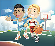 Animated picture of kids playing basketball