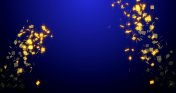 Explosion of Golden confetti on blue new year background.3D rendering , 4K