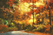 pathway through the colorful forest,painting