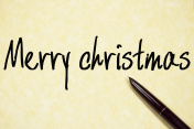 merry christmas text write on paper