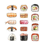Watercolor hand-painted Asian cousine sushi illustration set