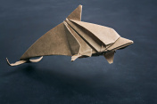 Dolphin origami of kraft paper