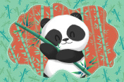 Cute Panda in the Green Bamboo Forest