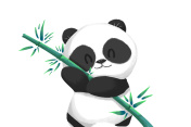 Illustration: Cute Panda Baby with its Bamboo Food