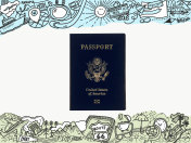 Passport in the frame of a picture drawing tourist theme