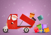 Santa Claus carrying Christmas packages