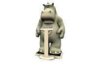 Disappointed cartoon hippo on scales.
