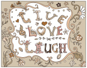 Decorative multicolor  poster live love laugh