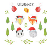 Watercolor set with cute animals in santa's hat and Christmas elements isolated on white background