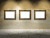 Dark gallery with three frames