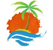 Tropical palm on island with sea